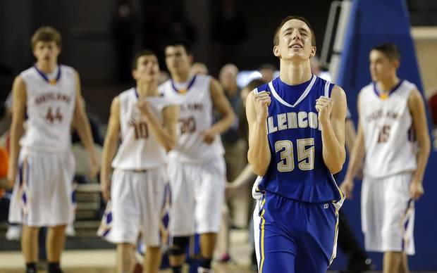 Glencoe's Ty Lazenby celebrates following the Class A boys state championship between Glencoe and Weleetka  at the State Fair Arena., Friday, March 1, 2013. Photo by Sarah Phipps, The Oklahoman