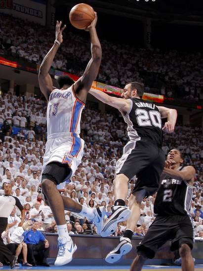 Oklahoma City&#039;s James Harden (13) is fouled by San Antonio&#039;s Manu Ginobili (20) during Game 6 of the Western Conference Finals between the Oklahoma City Thunder and the San Antonio Spurs in the NBA playoffs at the Chesapeake Energy Arena in Oklahoma City, Wednesday, June 6, 2012. Oklahoma City won 107-99. Photo by Bryan Terry, The Oklahoman