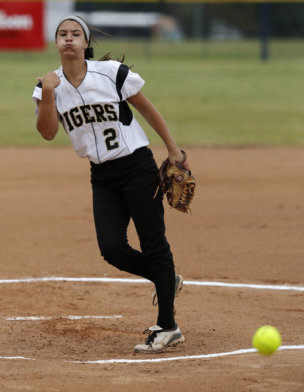 Broken Arrow's Elena Gambill (2) pitches during the 6A state softball semifinals game between Moore and Broken Arrow at ASA Hall of Fame Stadium in Oklahoma City, Okla., Friday, Oct. 12, 2012.  Photo by Garett Fisbeck, The Oklahoman