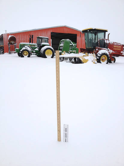 Six inches of snow near Delhi, OK. User submitted.