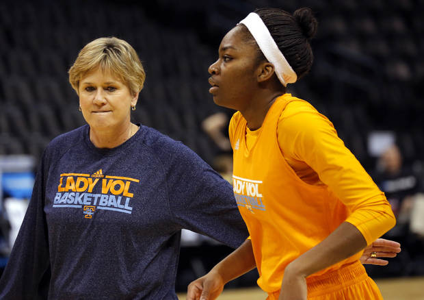 Tennessee head coach Holly Warlick talks with Tennesse guard Jasmine Phillips (1) during the press conference and practice day at the Oklahoma City Regional for the NCAA women's college basketball tournament at Chesapeake Arena in Oklahoma City, Friday, March 29, 2013. Photo by Sarah Phipps, The Oklahoman