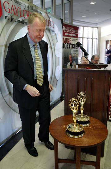 Emmy Award-winning reporter Mike Boettcher donates his Emmy awards to the Gaylord College of Journalism and Mass Communication at the University of Oklahoma on Tuesday in Norman.  Photo by Steve Sisney, The Oklahoman <strong>STEVE SISNEY</strong>