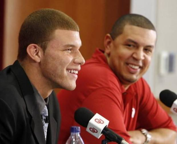 University of Oklahoma college basketball star Blake Griffin announces he will leave the Sooner team for the NBA professional draft in Norman, Okla. on Tuesday, April 7, 2009. At right is head coach Jeff Capel. Photo by Steve Sisney, The Oklahoman