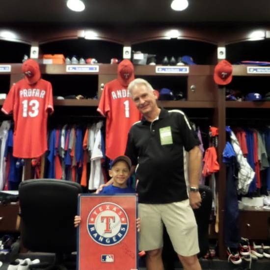 Garrett with Staggs in the Rangers clubhouse