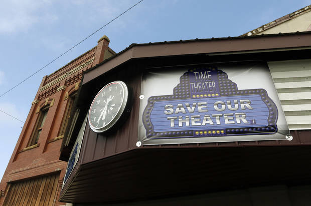 The front of the Time Theater is shown Feb. 7 in Stigler. The community is working to raise the $100,000 needed to convert the theater to digital projection and keep its doors open. Photos by Nate Billings, The Oklahoman