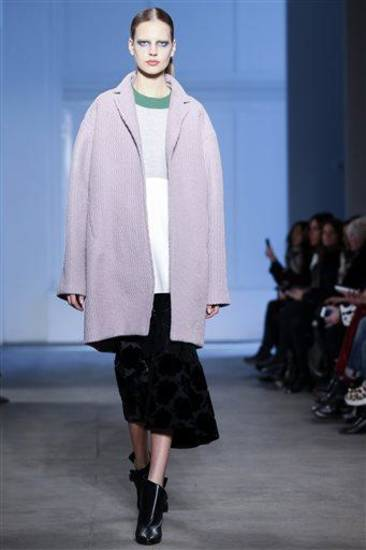 The Derek Lam Fall 2014 collection is modeled during Fashion Week, Sunday, Feb. 9, 2014, in New York. (AP Photo/John Minchillo)