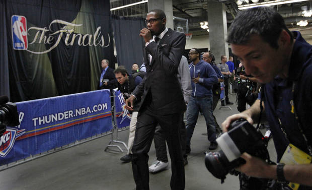 Oklahoma's Kevin Durant walks into the arena before the start of Game 1 of the NBA Finals between the Oklahoma City Thunder and the Miami Heat at Chesapeake Energy Arena in Oklahoma City, Tuesday, June 12, 2012. Photo by Chris Landsberger, The Oklahoman