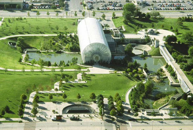 Myriad Gardens started off with a scattering of small trees, as shown in this photo taken after it opened in 1988. Photo provided