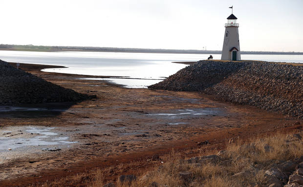 Low water levels are pictured at Lake Hefner in Oklahoma City,  Tuesday, Feb. 5, 2013.Photo by Sarah Phipps, The Oklahoman <strong>SARAH PHIPPS - SARAH PHIPPS</strong>