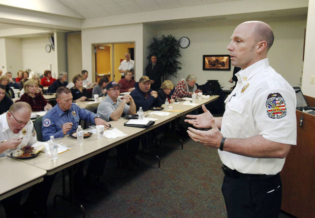 Fire Chief Jake Rhoades asks more than 50 community leaders for help in creating a five-year strategic plan for the Edmond Fire Department. PHOTO BY PAUL HELLSTERN, THE OKLAHOMAN