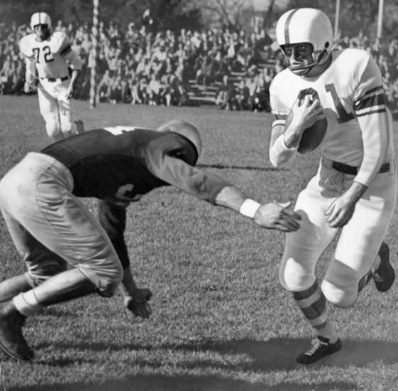 Darrell Royal, the touch-and-go University of Oklahoma halfback, was running high wide and handsome in 1946 at Ames where the Sooners barged past the Iowa State Cyclones, 63-0, for their second straight Big Six conference victory of the season. OKLAHOMAN ARCHIVE PHOTO