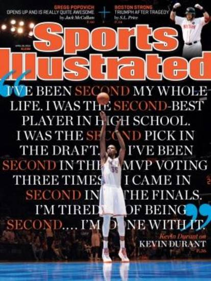 Oklahoma City Thunder star Kevin Durant is on the cover of this week's Sports Illustrated for the fifth time. Photo provided.