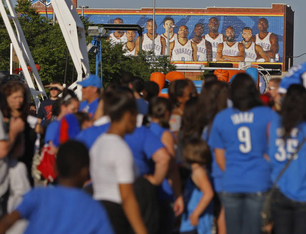 Fans gather in Thunder Alley before Game 5 in the second round of the NBA playoffs between the Oklahoma City Thunder and the L.A. Lakers at Chesapeake Energy Arena in Oklahoma City, Monday, May 21, 2012. Photo by Bryan Terry, The Oklahoman