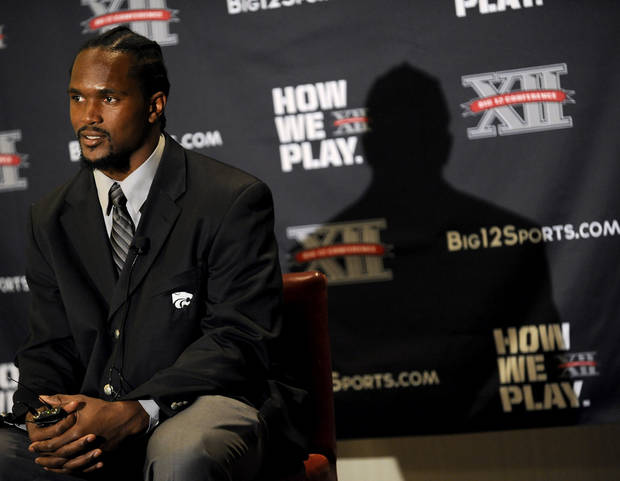 Kansas State linebacker Arthur Brown answers a question during NCAA college football Big 12 Media Days, Tuesday, July 26, 2011, in Dallas. (AP Photo/Matt Strasen)