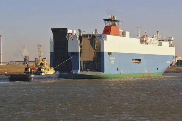 In this photograph released by Scheepvaartnieuws.blogspot.nl the Baltic Ace cargo ship is seen in IJmuiden, Netherlands, 2012. Four crew members died and seven were missing in the icy waters of the North Sea, after a cargo ship collided with another vessel and sank off the Dutch coast Wednesday night, rescuers said. The 148-meter (485-foot) Baltic Ace collided with the 134-meter (440-foot) container ship Corvus J in darkness near busy shipping lanes some 65 kilometers (40 miles) off the coast of the southern Netherlands. The Baltic Ace, carrying a cargo of cars, had a crew of 24 which was forced to abandon ship as it sank quickly. (AP Photo/Hans Blomvliet for Scheepvaartnieuws.blogspot.nl,) NO SALES, MANDATORY CREDIT