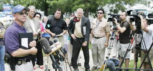 OSBI Agent Ben Rosser speaks at a press conference at the Okfuskee County Courthouse, Thursday, June 12, 2008. Photo by David McDaniel