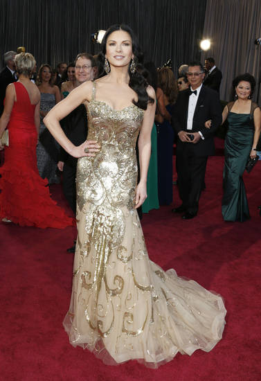 Catherine Zeta-Jones in a Zuhair Murad dress and Lorraine Schwartz jewels arrives at the Oscars at the Dolby Theatre on Sunday Feb. 24, 2013, in Los Angeles. (Photo by Todd Williamson/Invision/AP) <strong>Todd Williamson</strong>