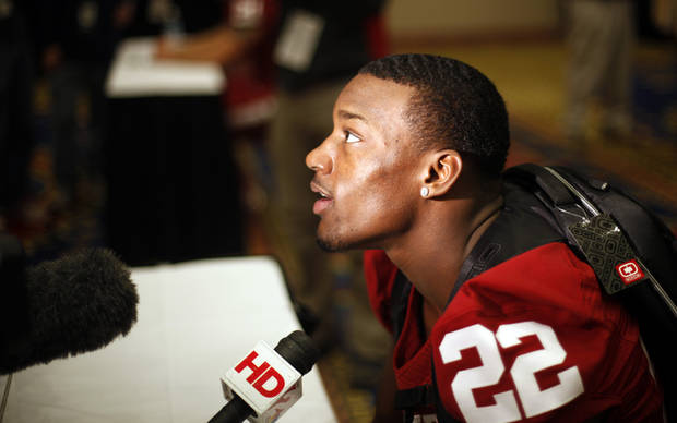 OU / COLLEGE FOOTBALL: Oklahoma's Roy Finch (22) talks with the media during a University of Oklahoma media day for the Insight Bowl at the Camelback Inn in Paradise Valley, Ariz.,  Wednesday, Dec. 28, 2011. Photo by Sarah Phipps, The Oklahoman