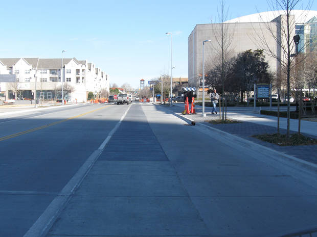The dedicated bike lane along Walker Avenue was removed last week by the Oklahoma City Public Works Department without prior discussion with policy makers who oversee the Project 180 program.