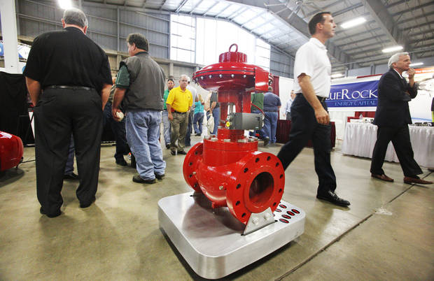 A high pressure motor valve manufactured in Okla. City by Kimray on display in their booth at the Oklahoma Oil & Gas Expo being held at State Fair Park in Oklahoma City Thursday, Oct. 4, 2012.  Photo by Paul B. Southerland, The Oklahoman