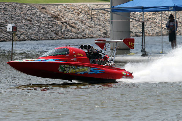 "Randy Ball in ""The Oklahoman"" stars his race during the Oklahoma City Nationals Drag Boat races on the Oklahoma River Saturday, June 9th, 2012. PHOTO BY HUGH SCOTT, FOR THE OKLAHOMAN  ORG XMIT: KOD"