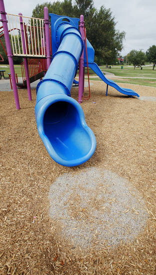 The playground at Washington Park, 400 N High Ave., is one of seven at Oklahoma City parks that officials have temporarily closed due to a potential safety risk. Photos by Paul B. Southerland, The Oklahoman