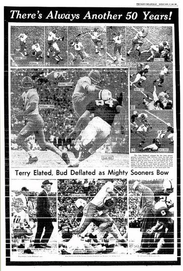 OU-Notre Dame photo page from Nov. 17, 1957 editions of The Daily Oklahoman. FROM THE OKLAHOMAN ARCHIVES