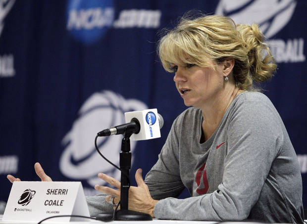 Oklahoma head coach Sherri Coale answers questions during a news conference about their second-round game of the women's NCAA college basketball tournament Sunday, March 24, 2013, in Columbus, Ohio. Oklahoma will play UCLA on Monday. (AP Photo/Jay LaPrete) ORG XMIT: OHJL101