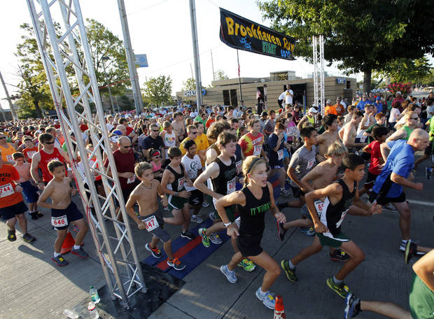 Over 1200 runners entered the annual Brookhaven Run on Saturday, Sept. 1, 2012 in Norman, Okla. The 5K started at 8:00 am.  Photo by Steve Sisney, The Oklahoman