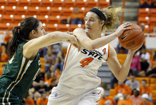 Oklahoma State's Liz Donohoe (4) tries to pass the around Cal Poly's Taryn Garza (15) during the women's college basketball game between Oklahoma State and Cal Poly at  Gallagher-Iba Arena in Stillwater, Okla., Friday, Nov. 9, 2012. Photo by Sarah Phipps, The Oklahoman