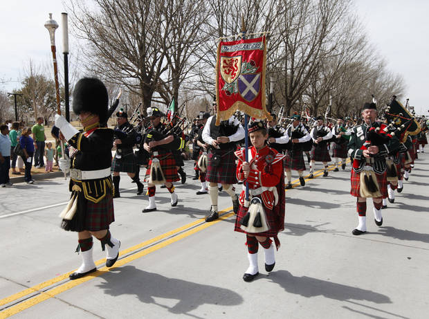 The Highlanders marched in the annual Saint Patrick's Day Parade in downtown Oklahoma City, OK, Saturday, March 16, 2013,  By Paul Hellstern, The Oklahoman