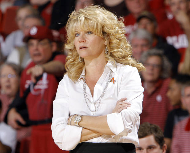 Oklahoma head coach Sherri Coale watches came action during the women's college basketball game between the Oklahoma Sooners and the Kansas Jayhawks at the LLoyd Noble Center in Norman, Okla., Sunday, March, 4, 2011. Photo by Sarah Phipps, The Oklahoman