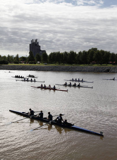 Rowing teams move toward the staging area during the Oklahoma Regatta Festival on the Oklahoma River in Oklahoma City, OK, Saturday, October 5, 2013,  Photo by Paul Hellstern, The Oklahoman