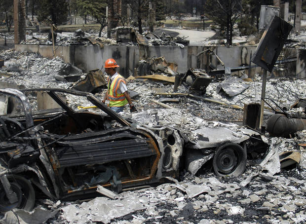 A utilities worker walks through homes destroyed by the Waldo Canyon Fire in the Mountain Shadows neighborhood of Colorado Springs, Colo., on Monday, July 2, 2012. So far, the blaze, now 45 percent contained, has damaged or destroyed nearly 350 homes. (AP Photo/Bryan Oller) ORG XMIT: COBO105