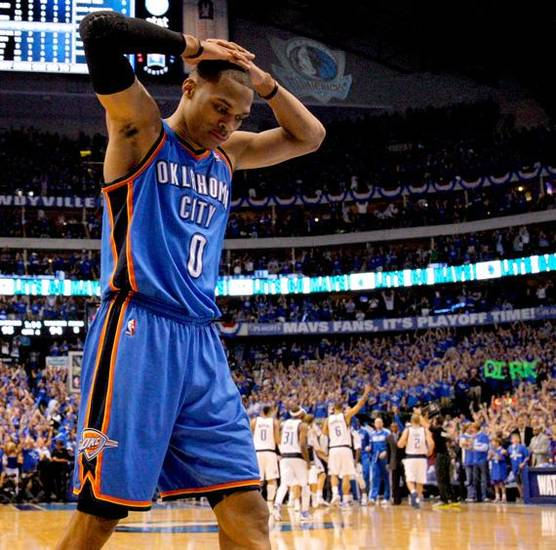 Oklahoma City's Russell Westbrook (0) reacts in the final minutes of Oklahoma City's loss in game 5 of the Western Conference Finals in the NBA basketball playoffs between the Dallas Mavericks and the Oklahoma City Thunder at American Airlines Center in Dallas, Wednesday, May 25, 2011. Photo by Bryan Terry, The Oklahoman