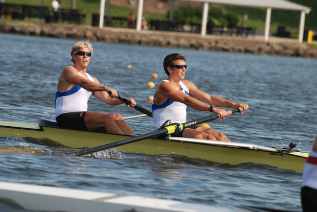Oklahoma City-based rowers Tom Peszek (left) and Silas Stafford kept their Olympic medal hopes alive Monday by reaching the men's pair rowing semifinals at the London Olympics. <strong> PHOTO PROVIDED</strong>