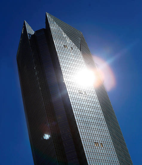 Left: Sunlight reflects off the Devon Tower. Photo by Jim Beckel, The Oklahoman archives