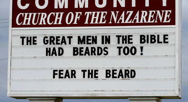 OKLAHOMA CITY THUNDER / MIAMI HEAT / NBA FINALS / NBA BASKETBALL / SUPPORT: This message making reference to Thunder star James Harden was seen on a church marquee at the Midwest City Community Church of the Nazarene on SE 15 east of  Post Road.  Photo taken  June 13,  2012.    Photo by Jim Beckel, The Oklahoman