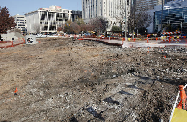 Street construction at Colcord Avenue and Hudson in downtown Oklahoma City. City leaders hope to see most Project 180 street construction wrapped up later this year.Photo by PAUL B. SOUTHERLAND, The Oklahoman