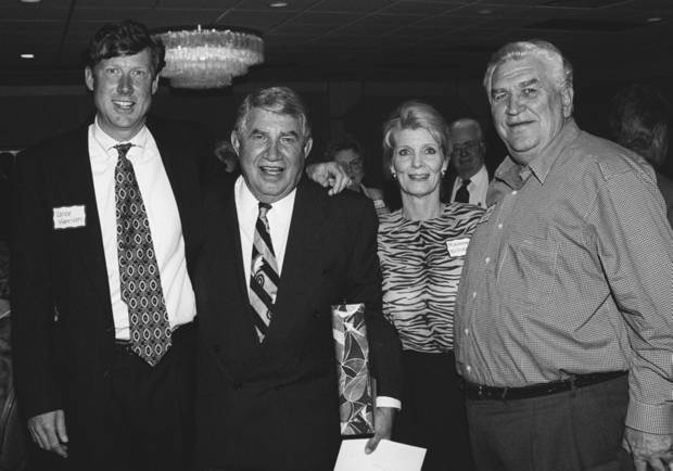 Danny Williams, second from left, with guests at his birthday party.  From left are Vance Harrison, Williams, Maureen Williams (wife) and Lee Allan Smith.