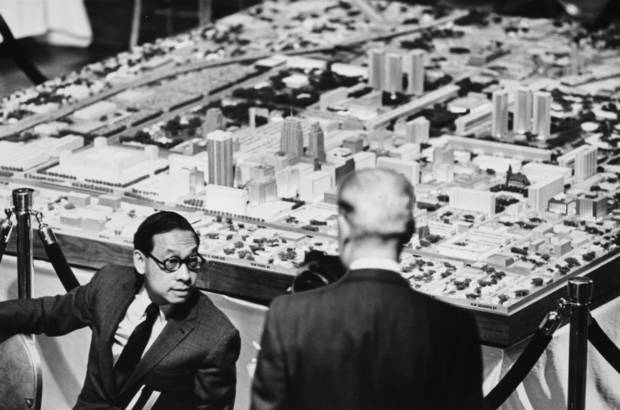 "Architect and urban planner I.M. Pei discusses his plans for a ""new"" downtown Oklahoma City at the unveiling of the Pei Plan model at the Skirvin Tower on Dec. 10, 1964.Oklahoman ArchivE photo"