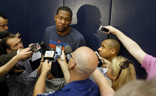 NBA BASKETBALL: Kevin Durant speaks with the media after practice for the Oklahoma City Thunder at the FedExForum in Memphis, Tenn., Sunday, May 12, 2013. The Thunder will play the Memphis Grizzlies in Game 4 of their second-round NBA playoff series on Monday. Photo by Nate Billings, The Oklahoman