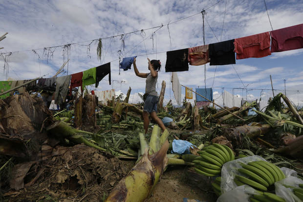 A resident hangs clothing amid fallen trees and debris a day after Typhoon Bopha made landfall in the village of Andap, New Bataan township, Compostela Valley in southern Philippines Wednesday, Dec. 5, 2012. Typhoon Bopha, one of the strongest typhoons to hit the Philippines this year, barreled across the country's south on Tuesday, killing scores of people while triggering landslides, flooding and cutting off power in two entire provinces. (AP Photo/Bullit Marquez)