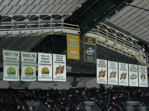 While in Seattle, the SuperSonics raised banners for division championships and conference championships.