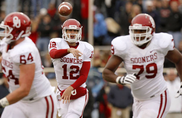 Oklahoma's Landry Jones (12) throws a pass during a college football game between the University of Oklahoma (OU) and Texas Tech University at Jones AT&T Stadium in Lubbock, Texas, Saturday, Oct. 6, 2012. Oklahoma won 41-20. Photo by Bryan Terry, The Oklahoman