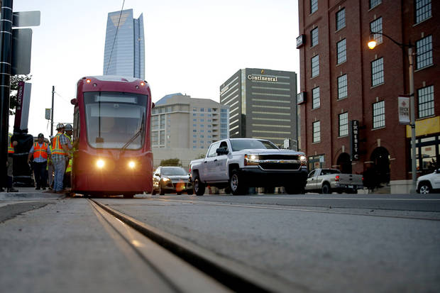 Streetcar testing and operator training is ongoing in Bricktown. System testing will move into Midtown and the central business district this month. [Photo by Bryan Terry, The Oklahoman Archives]