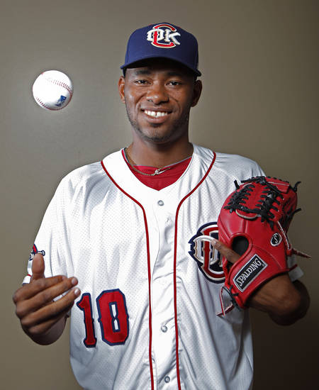 MINOR LEAGUE BASEBALL: Oklahoma City's Enerio Del Rosario poses for a photograph during media day for the Oklahoma City RedHawks in Oklahoma City, Tuesday, April 3, 2012. Photo by Sarah Phipps, The Oklahoman