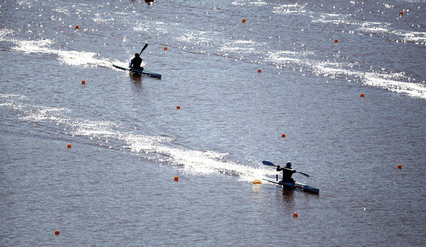 Kayakers compete during the Men's single Kayak 1000m Final A during races for the USA Canoe/Kayak World Cup Team Trials on the Oklahoma River,  Saturday, April 21, 2012. Photo by Sarah Phipps, The Oklahoman.