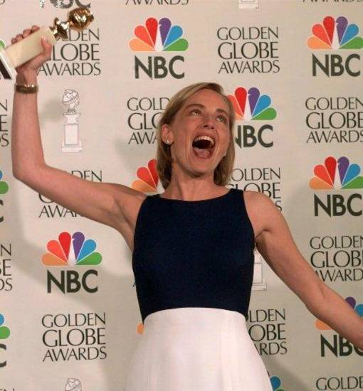 "Sharon Stone shows her excitement after winning best actress in a drama motion picture for her role in ""Casino"" at the Golden Globe Awards, Sunday, Jan. 21, 1996, in Beverly Hills, Calif. (AP Photo/Mark J. Terrill)"