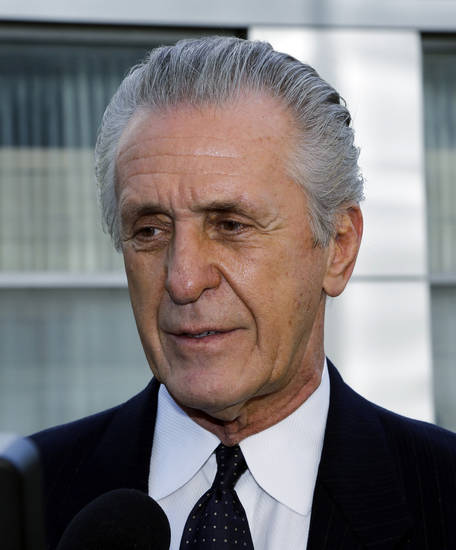 Pat Riley, former Los Angeles Lakers head coach and current Miami Heat president, arrives at a memorial service for Jerry Buss, the late Lakers owner who died Monday from cancer complications, Thursday, Feb. 21, 2013, in Los Angeles. (AP Photo/Reed Saxon)